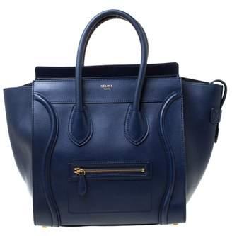 Celine Luggage Blue Leather Handbags