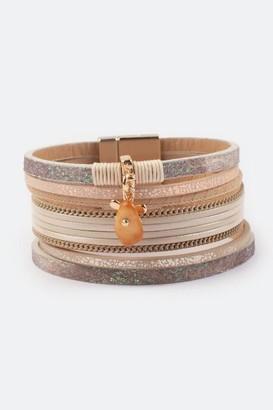 francesca's Marley Flower Charm Leather Wrap Bracelet - Gray