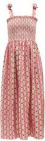Muzungu Sisters - May Botanical-print Silk-faille Dress - Womens - Pink Print