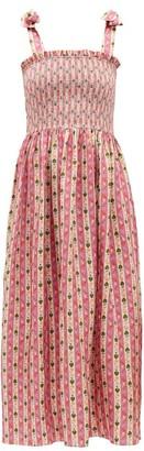 Muzungu Sisters - May Botanical-print Silk-faille Dress - Pink Print