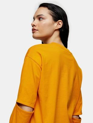 Topshop Boutique Elbow Slash T-shirt - Orange