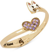 Betsey Johnson Gold-Tone Pavé Heart and Cat Hinged Open Bangle Bracelet