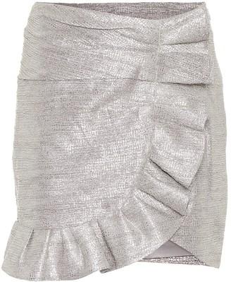 Jonathan Simkhai Ruffled metallic jacquard miniskirt