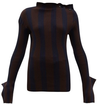 Palmer Harding Palmer//Harding Palmer//harding - Shift Exaggerated Cuff Cotton Blend Sweater - Womens - Navy