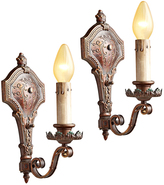 Rejuvenation Pair of Romance Revival Sconce w/ Bronze-Toned Finish