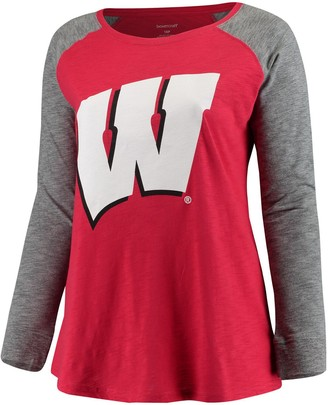 Unbranded Women's Red/Charcoal Wisconsin Badgers Plus Size Preppy Elbow Patch Slub Long Sleeve T-Shirt