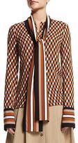 Michael Kors Geometric-Print Scarf Blouse, Caramel Multi
