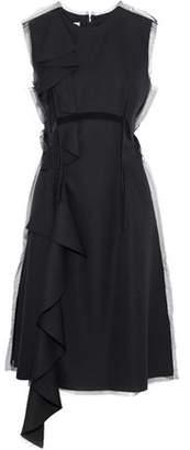 Maison Margiela Tulle-trimmed Draped Wool-crepe Dress