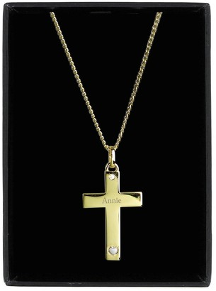 Personalised 9ct Gold Cross with Sterling Silver Heart and Cubic Zirconia Pendant Necklace