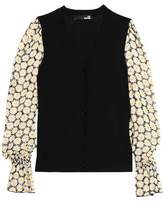 Love Moschino Floral-Print Chiffon-Paneled Knitted Cardigan