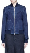 Stella McCartney Lace insert denim bomber jacket
