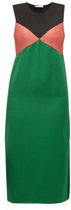 Marina Moscone - Colour-block Sleeveless Satin Midi Dress - Womens - Green Multi