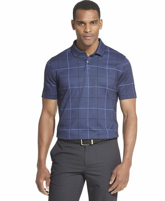 Van Heusen Men's Tall Flex Short Sleeve Stretch Windowpane Polo Shirt