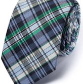 Charles Tyrwhitt Blue and green silk mix classic check tie