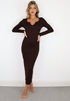 Missguided Petite Brown Notch Neck Midaxi Dress