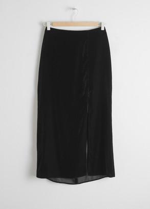 And other stories Velvet Side Slit Midi Skirt