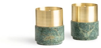 And Jacob Brass Candle Holders Green Marble