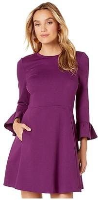 Kate Spade Bell Sleeve Ponte Dress (Black) Women's Clothing