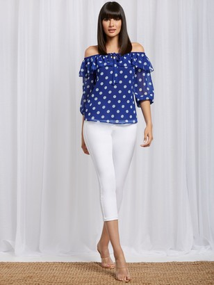 New York & Co. Dot-Print Off-The-Shoulder Blouse - Sweet Pea
