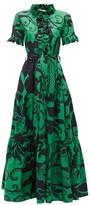 La DoubleJ Long & Sassy Printed Cotton-poplin Dress - Womens - Green Print