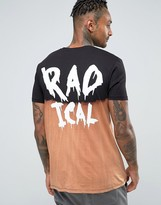 Asos Longline T-Shirt With Radical Back Print And Dip Dye Bleach Effect