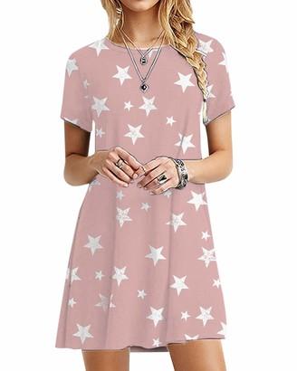 YOINS Women Mini Dresses Short Sleeve Casual Loose Tunic Round Neck Long Tshirt Mini Dress Grey