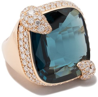 Pomellato 18kt rose gold Ritratto topaz & diamond ring
