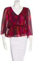 Alice + Olivia Abstract Print Silk Blouse