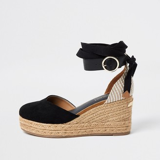 River Island Black lace-up ankle espadrille wedge sandals