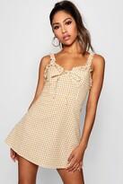 boohoo Ruffle Shoulder Gingham Mini Dress