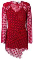 Self-Portrait sheer asymmetric dress - women - Polyester/Spandex/Elastane - 6