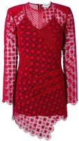 Self-Portrait sheer asymmetric dress - women - Polyester/Spandex/Elastane - 8