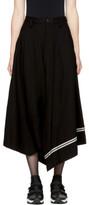 Y's Ys Black Asymmetric Striped Skirt