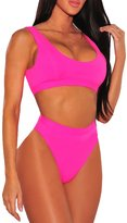 Viottis Women's High Waist Thong Cropped Top Swimsuit Bikini Set Rose L