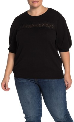 Laundry by Shelli Segal Lace Trim Pullover Sweater (Plus Size)