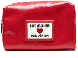 Love Moschino Faux-Leather Logo-Patch Makeup Bag