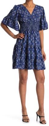 Max Studio Tiered Smocked Waist Surplice Dress