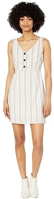 Cupcakes And Cashmere Azaelia Cotton Linen 'Stripe' Dress w/ Buttons (Oatmeal) Women's Dress