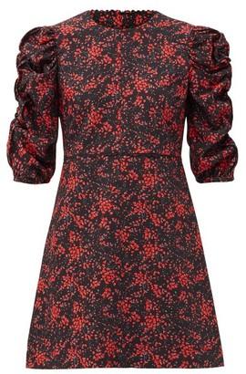See by Chloe Floral Sweetheartl-print Crepe Mini Dress - Black Print