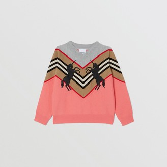 Burberry Childrens Unicorn Embroidered Technical Wool Sweater
