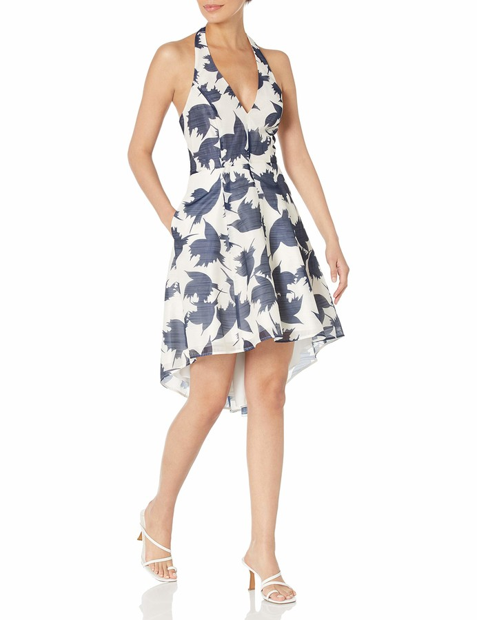 Thumbnail for your product : Halston Women's Sleeveless V Neck Halter Floral Printed Dress