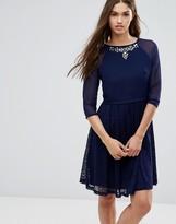 Little Mistress 3/4 Sleeve Skater Dress With Embellished Neckline