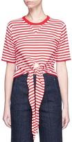 Sonia Rykiel Front tie stripe cropped sweater