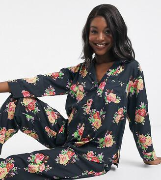 ASOS DESIGN Maternity floral shirt & trouser pyjama set in 100% modal