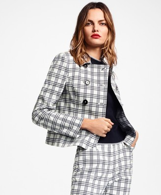 Brooks Brothers Plaid Stretch Cotton Double-Breasted Jacket