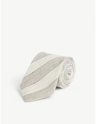 Eton Striped linen-wool blend tie