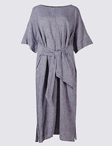 M&S Collection Linen Rich Chambray Shift Midi Dress