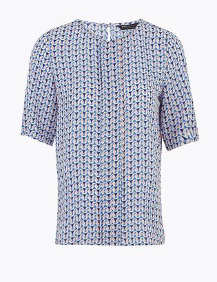 Marks and Spencer PETITE Geometric Short Sleeve Blouse