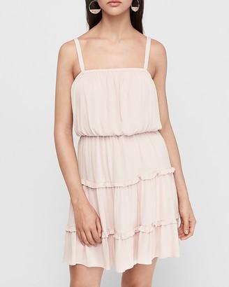 Express Tiered Square Neck Mini Dress