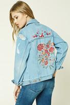Forever 21 FOREVER 21+ Floral Embroidered Denim Jacket